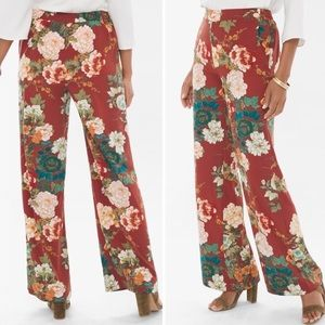 Chico's Palazzo Pants Floral Pull On Stretch Waist